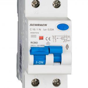 Intreruptor automat+dif. 1P+N, AMPARO 6kA, C 16A, 30mA, tip A