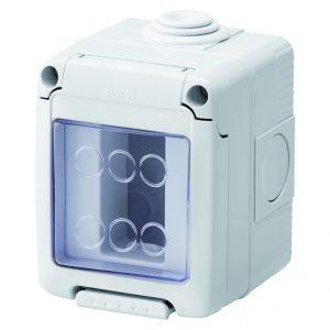Doza aparat Gewiss, gama 27 Combi, 1 modul, aparent, IP55, GW27041