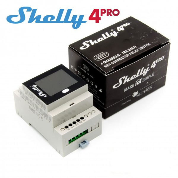 Shelly 4 Pro, releu inteligent cu 4 canale, monitorizare consum, afisaj LCD color, web server inclus